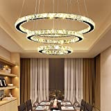 Hengda® Pendellampe Deckenlampe Mit 3 LED Ring Kronleuchter Ring leuchte | 96W Dimmbar Lichtfarben Wechselbar | rund Kristall | für Esszimmer Küche Laden Kaufhaus -- gemütliches Licht