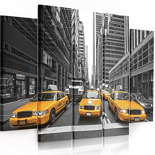 Feeby frames, quadro multipannello di 5 pannelli, quadro su tela, stampa artistica, canvas (new york, taxi, grigio, giallo) 100x200 cm, tipo b