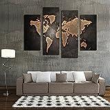 decorazione natalizia Mappa del mondo dipinto olio su tela / HD inkjet / Quad combattere senza telaio pittura di paesaggio / tela / pittura pittura decorativa moderna / piatto , 1 - HJ-HOME - amazon.it