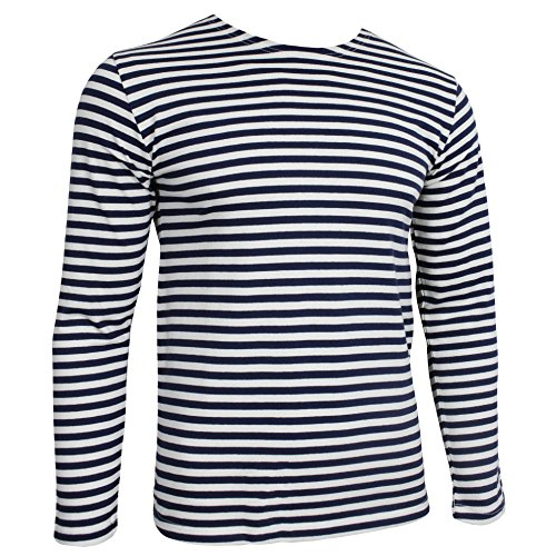 Russische Marine Telnjaschka Langarmshirt - blaue Streifen der Marine (XL - 44 inch) - Marine T-shirt Gestreift