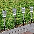 GIGALUMI Solar Gartenleuchte aus Edelstahl Außenleuchte Dual LED Diamant Solarleuchte für Garten, Rasen, Terrasse und den Hinterhof (4 Stück) von GIGALUMI