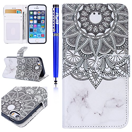 Custodia iPhone 6/iPhone 6s (4.7), EUWLY Flip Cover Leather Wallet Case Custodia per iPhone 6/iPhone 6s (4.7) in PU Pelle, Bling Bling Custodia Cover con Ultra Sottile Interno Silicone TPU Case Prot Fiore Mandala Marmo