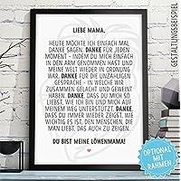 LÖWENMAMA - Bild Danksagung für Deine Mama Mutter – Rahmen optional – Geschenk Geschenkidee Geburtstag Hochzeitstag Muttertag