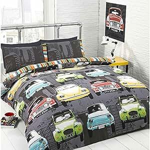 Style Vintage Gris Cars Parure de lit avec housse de couette et 1 taie d'oreiller &Parure de lit