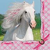 16 Servietten * WEISSES PFERD * für Kindergeburtstage oder Motto-Partys // Geburtstag Party Napkins Papierservietten weiß und rosa Schimmel