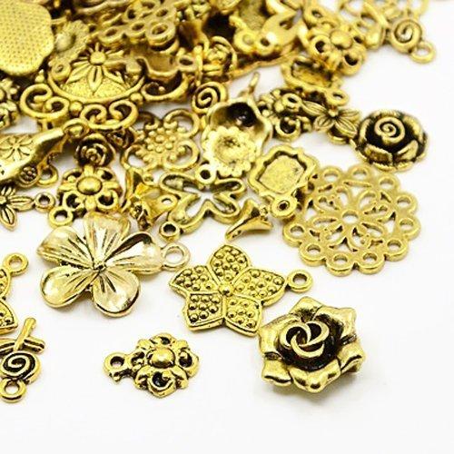 Paket 30 Gramm Antik Gold Tibetanische ZufälligeMischung Charms (Blume) - (HA07090) - Charming Beads
