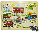 Steckpuzzle mit Griffen - ' Fahrzeuge / Auto ' - aus Holz - 8 Teile - großes...