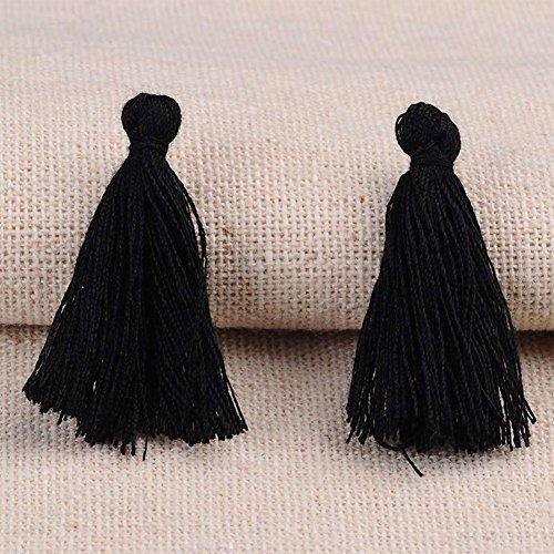 nbeads 1 Sac 300 pcs/Sac 26 ~ 30 x 4 mm Noir Polyester Faite à la Main Pompon Pendentifs pour Fabrication de Bijoux, Boucles d'oreilles, projets de Bricolage