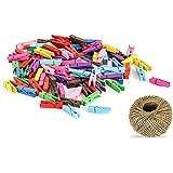 100 Pcs Colores pinzas de madera para colgar fotos, Attiant 100m Hilo Natural Yute Cordel de Cáñamo Cuerda de Bricolaje con 1