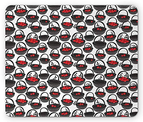 Whecom Fruits Gaming Mauspad, Doodle Baskets with Berry Spring Season Harvest Repeating Pattern, Standard Size Rectangle Non-Slip Rubber Mousepad, Vermilion Charcoal Grey White 9.8 X 11.8 INCH