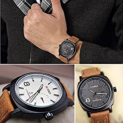 Imixcity®2015 CURREN Men Sport Military Water Quartz Watch PU Leather Strap Curren New