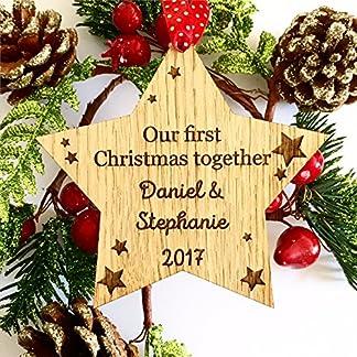 Nuestro Primer 1st Navidad juntos personalizado Star decoración árbol de Navidad, nuestra primera Navidad juntos regalo madera 07