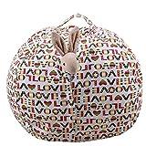 Doudoubag - Pouf Rangement Peluches ✮ Stockez + de 90 Doudous (Draps, Habits.) - Grande Taille - Modèle Love - Coffre à Jouets Chambre Enfants - 3 utilités en 1 : Rangement + Fauteuil + Déco