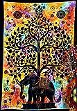 Exklusive Tie Dye Wandteppiche Tagesdecke Hippie Wandbehang Ethnic Decor seitenverkehrt Art Series indischen Bettunterlagen Boho Wohnheim Fairy Land Picknick Überwurf Gypsy Beach Decke (Multi)