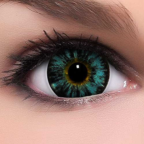 Linsenfinder Lenzera Circle Lenses blaue 'Nudy Blue' ohne Stärke + Kombilösung + Behälter Big Eyes 15mm farbige Kontaktlinsen