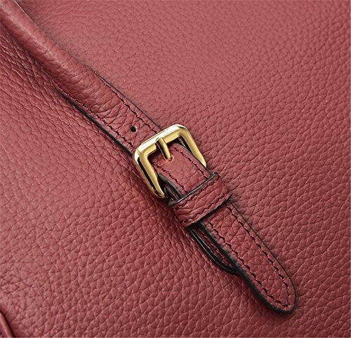 Xinmaoyuan Borse donna vera pelle borsa a tracolla Borsa donna semplice vera pelle con guscio duro Bag,grigio Vino rosso
