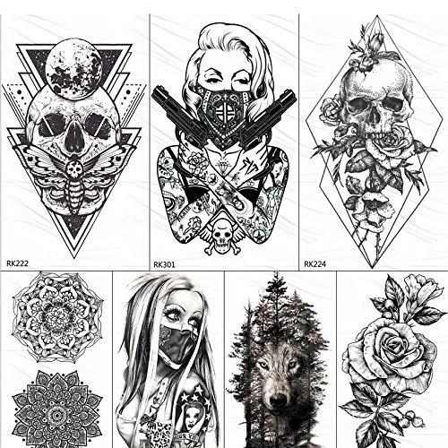 yyyDL 3D Raute Dreieck Schädel Nonne Temporäre Tätowierung Aufkleber Für Männer Frauen Arm Bein Tattoo Papier Wasserdicht Body Art Schwarz Tattoos 10 * 6 cm 7 stücke