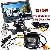 12V-24V 7pulgadas coche TFT LCD Monitor HD de pantalla + bus camión remolques 18LEDs IR visión nocturna impermeable de visión trasera Backup Cámara con 10m cable de vídeo
