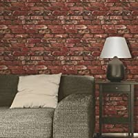 Brewster FD31285 Rustic Brick Wallpaper, Red