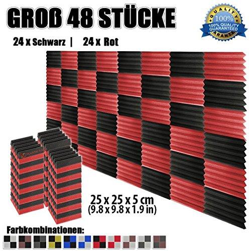 super-dash-48-stuck-von-25-x-25-x-5-cm-schwarz-rot-keil-akustikschaumstoff-noppenschaumstoff-akustik