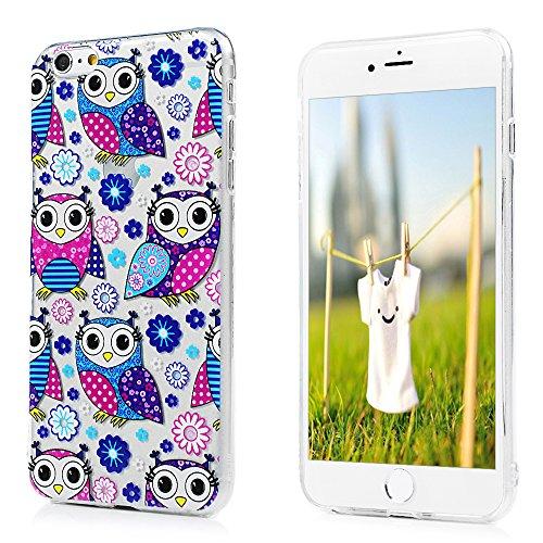 Badalink Coque pour iPhone 6 Plus / iPhone 6S Plus, Etui en TPU Silicone Souple Relief Coque de Protection Ultra Mince Scratch Cas de Téléphone Peint Coloré Couverture Arrière - Rose Hibou