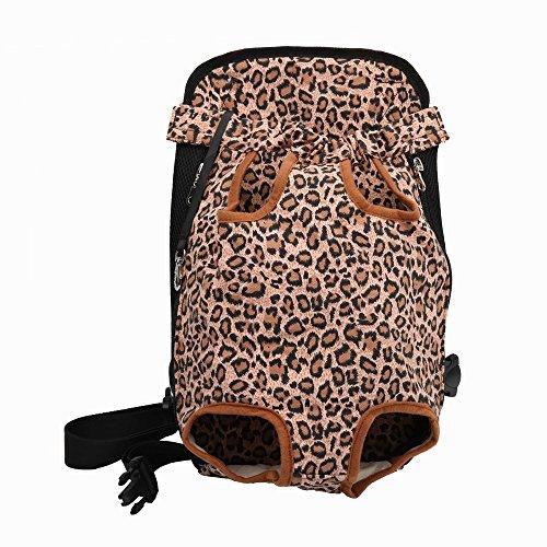 CLLUZU Haustier-Tragekoffer Katze Reisetasche Front Dog Carrier Machine Waschbar Atmungsaktives Mesh Leopard Rucksack -