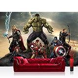 Fototapete 254x184 cm PREMIUM Wand Foto Tapete Wand Bild Papiertapete - Jungen Tapete Marvel AVENGERS Hulk Iron Man Thor Captain America Cartoons bunt - no. 1279