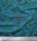 Soimoi Blau Rayon Krepp Stoff Paisley & Mandala Mosaik-