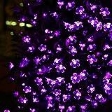 JVJ LED Solar Lichterkette Solarlichterkette, 7 Meter, Wasserdicht, 50 LEDs, 1,2V, Violett, tragbar, mit Lichtsensor, Außenlichterkette, Weihnachtsbeleuchtung, Beleuchtung für Hochzeit, Party [Energieklasse A+]