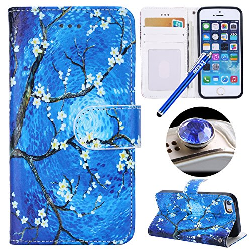 Etsue Case Cover for iPhone 7/8,Copertura in Pelle/Leather Cover caso,Hand Embossed Varnish Leather Case,[Chiusura magnetica][assorbimento dello shock][anti-graffio],flip cover case for iPhone 7/8-cra Pittura di fiori blu