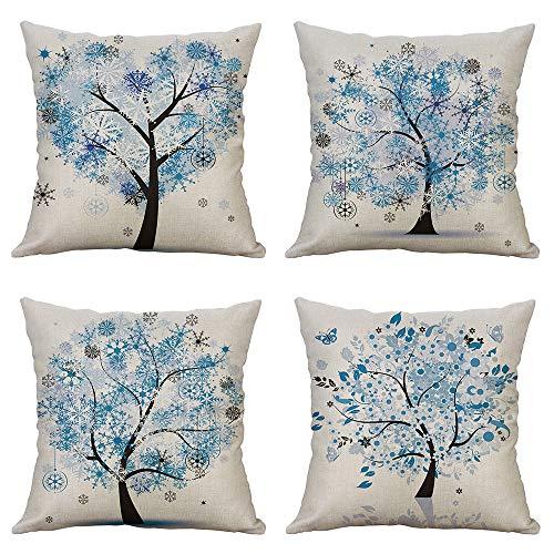 MIULEE Pack Von 4 Dekorative Bäumen Serie Orange Baum Kissenbezug Kissen Fällen Wurfkissen Einzigartiges Design Outdoor-Shell-Kissenbezug Für Sofa Couch Schlafzimmer 18X18 Inch