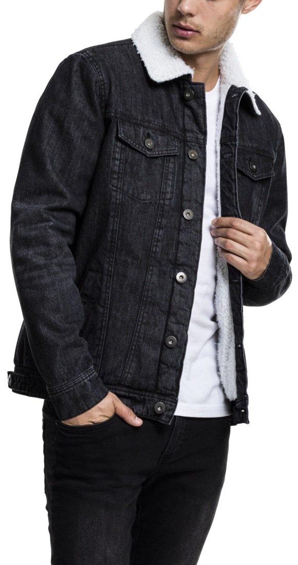 schwarze Jeansjacke mit Fell Herren
