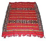 Authentique marocain Fait à la main Tapis Kilim 100% laine tissé main–Rouge et Multi couleurs–1.31x 1.10m
