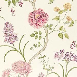 Sanderson - Papier peint crème / Chintz - DAPGST101 Summer Tree - A Painter's Garden