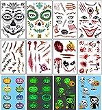 Vansoon 10 piezas pegatina de tatuajes de Halloween, cara, maquillaje de cicatriz falsa, calabaza, cabeza de calavera Pegatinas luminosas para Halloween Navidad Mascarada Despedida de soltero