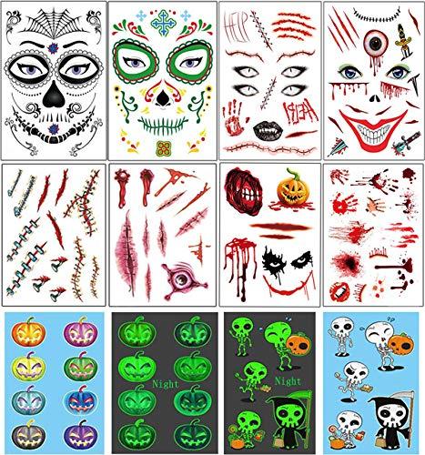 Vansoon 10 piezas pegatina de tatuajes de Halloween, cara,...