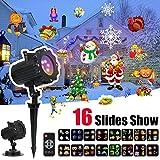 Luci Natale LED Proiettore con 16 Lenti Intercambiabili, Wireless Telecomando, IP65 Impermeabile Esterno/Interno Rotazione di Proiettore Luci per Halloween, Natale, San Valentino, Compleanno,Festività