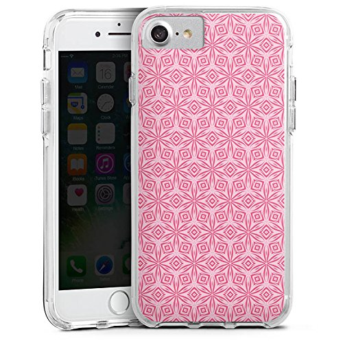 Apple iPhone 8 Bumper Hülle Bumper Case Glitzer Hülle Ornamente Blumen Flowers Bumper Case transparent