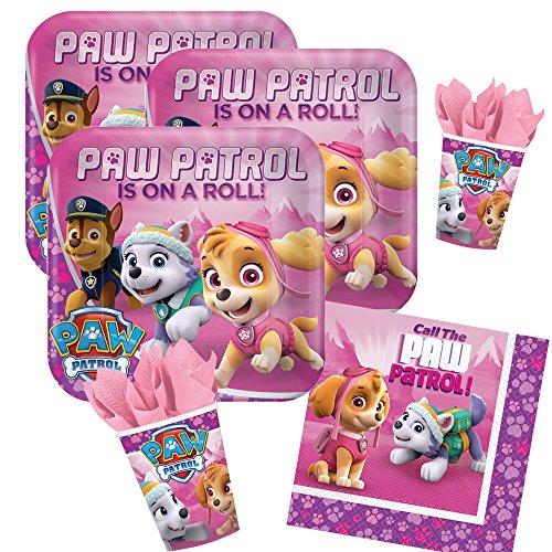 36-teiliges Party-Set Paw Patrol pink - Teller Becher Servietten für 8 Kinder