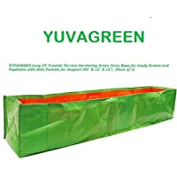 """YUVAGREEN Long UV Treated Terrace Gardening Green Grow Bags for Leafy Greens and Vegetable with Top Support (Clip Holes)(60"""" X 12"""" X 12"""") - (Pack of 1)"""