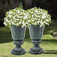 SmashingDealsDirect Set of 2 Garden Plastic Urn Planters Indoor Outdoor Patio Classic Flower Plant Pot (Green)
