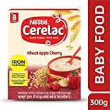 Nestle Cerelac Fortified Baby Cereal with Milk, Wheat Apple Cherry – From 8 Months, 300g Pack