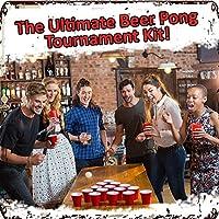 Set de Beer Pong Americano - 100 Vasos Rojos y 15 Bolas de Pimpón - Juegos para Beber de Mesa para de Adultos - Accesorio para Fiesta de Disfraces, Cumpleaños - Articulo de Entretenimiento de The Twiddlers