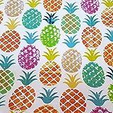 Stoff Meterware Baumwolle weiß bunt Ananas groß orange