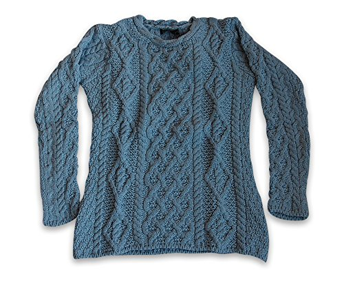 Irische Aran-damen-pullover (Lattice Cable Lambay Aran Pullover (S, Sky Blue))