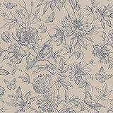 Rasch Tapeten 449471 Kollektion Florentine II-Vliestapete mit floraler Zeichnung in Blau, 10, 05 x 0, 53 (LxB)