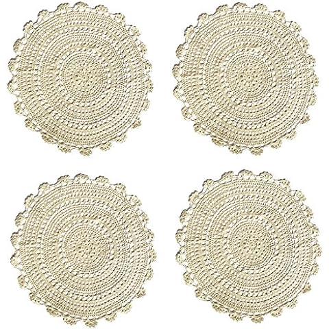 """Ambielly rotonda Handmade Crochet del cotone del merletto Tabella Tovagliette centrini, Value Pack / 4 pezzi, (45cm / 17.7 """", Beige)"""