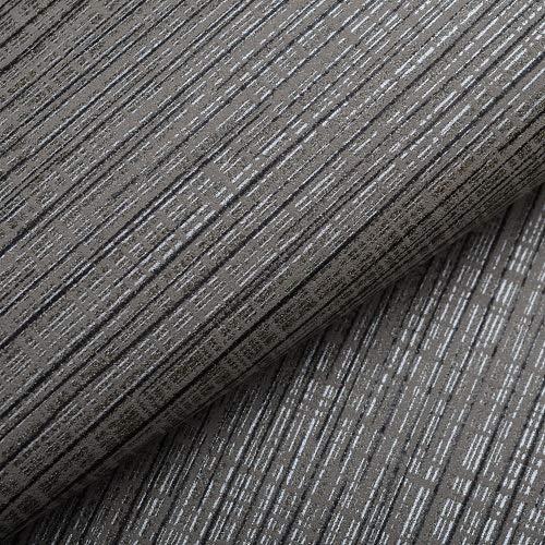 KYKDY Interior Design Grau Silber Gestreiften Tapeten Klassische Strukturierte Tapete Rolle Für Schlafzimmer Sofa Hintergrund, A02806 Holzkohle, 10 mt x 53 cm