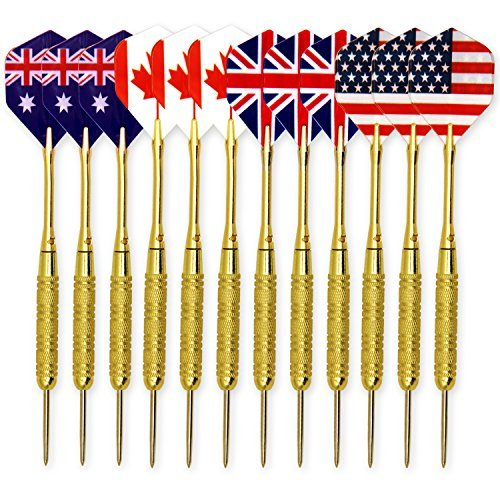 L.e.d Step 18G Brass 12 Pcs/4 Set Copper Barrel Steel Tip Darts with 2BA Aluminum Shafts and National Flag Flights (4 Styles),Professional Metal Dart Tips Set by L.e.d Step (Dart Flag Flight)