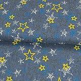 Stoffe Werning Jeansstoff Sterne blau gelb Kinderstoffe